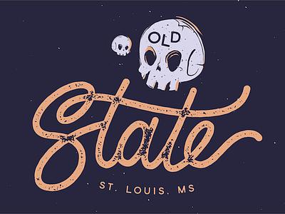 Old State skull handlettering band lettering