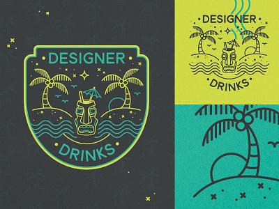 Designer Drinks Badge tallahassee palm tree beach tiki illustration badge icon aiga