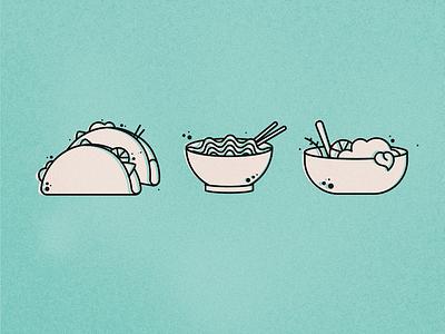 Food Icons salad noodles tacos food icons monoline food illustration badge icon