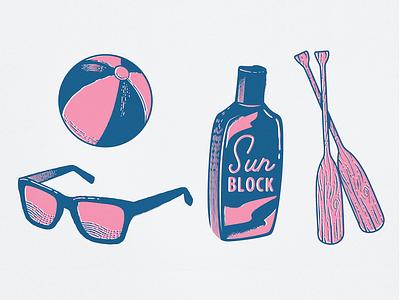 Summer Illustrations texture wood icons beach sunscreen sunglasses summer illustration