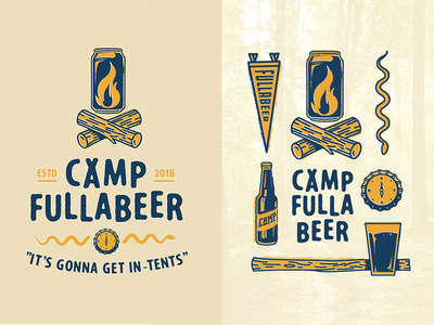 Camp Illustrations summercamp vintage pennant snake compass campfire beer icons illustration camp