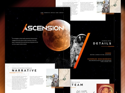 Ascension Website astronaut one page website vr video game space exploration space age space landing design