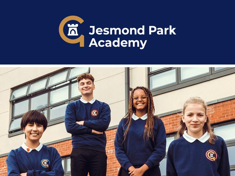 Jesmond Park Academy academy castle icon uniform design education logo school school logo
