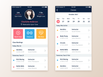 Daily UI #006 - User Profile booking gym fitness user profile