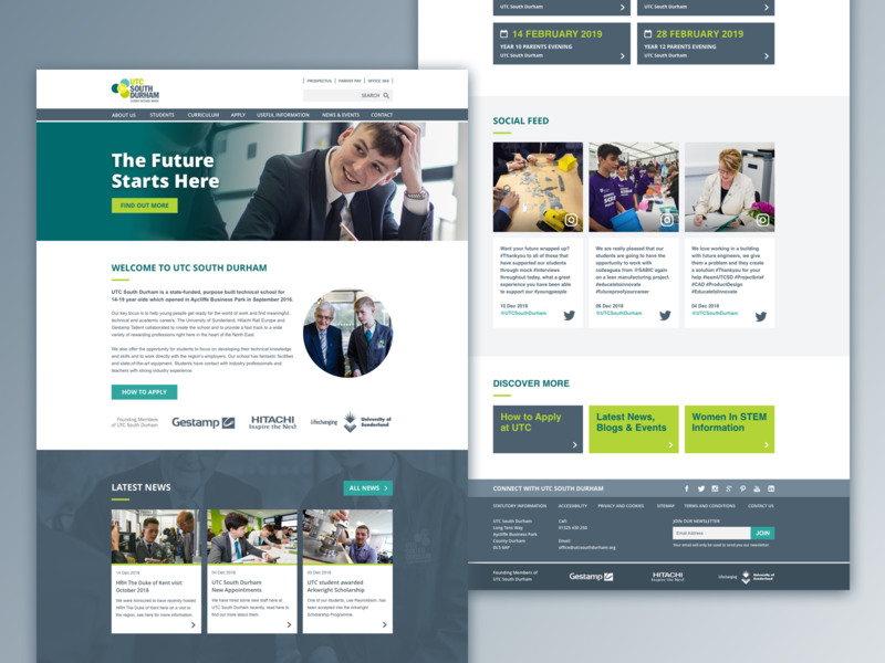 UTC South Durham education web ui design website