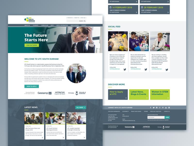 UTC South Durham education web ui design website