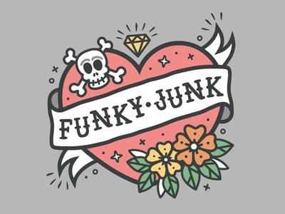 Funky Junk Logo jerry sailor vector modern traditional flower skull tattoo art tattoo logo