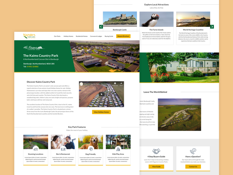 Maguires Country Parks ui country park concept design website concept web design website