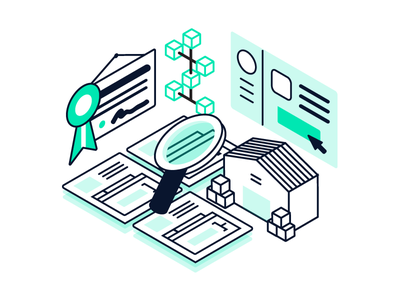 Quality Assurance Illustration boxes isometric illustration inspection matching qualify certifications machining research files warehouse manufacturing