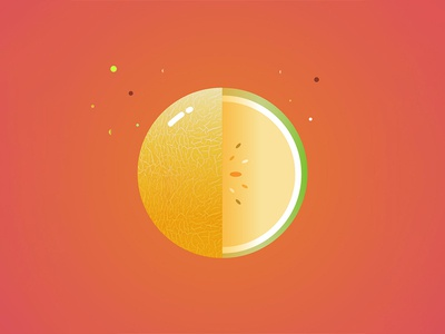 Melon Planet identity logo vector fruit color flat design graphic dribbble illustration planet melon