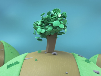 Little Planets low poly tree cloner redshift c4d