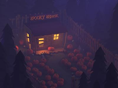 Spooky Shack pumpkins spooky redshift c4d halloween