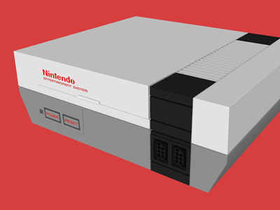 Classic NES video game low poly c4d
