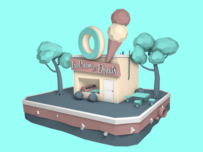 Ice Cream and Donuts shop donut ice cream low poly c4d
