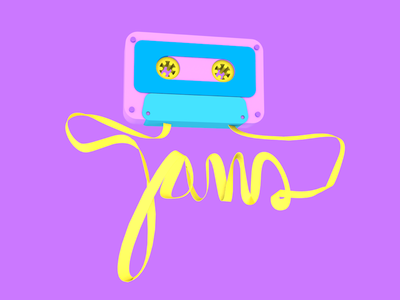 """""""Jams"""" cursive cassette c4d"""