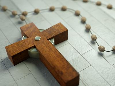 Rosary catholic cross octane c4d