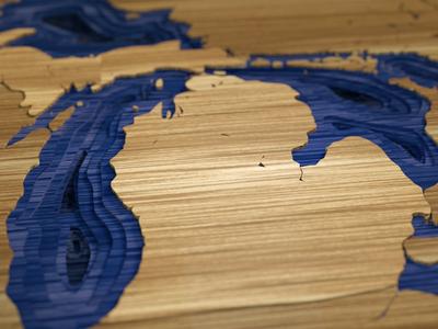 Michigan topography map wood michigan c4d