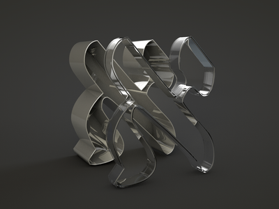 Aleph letter glass hebrew c4d