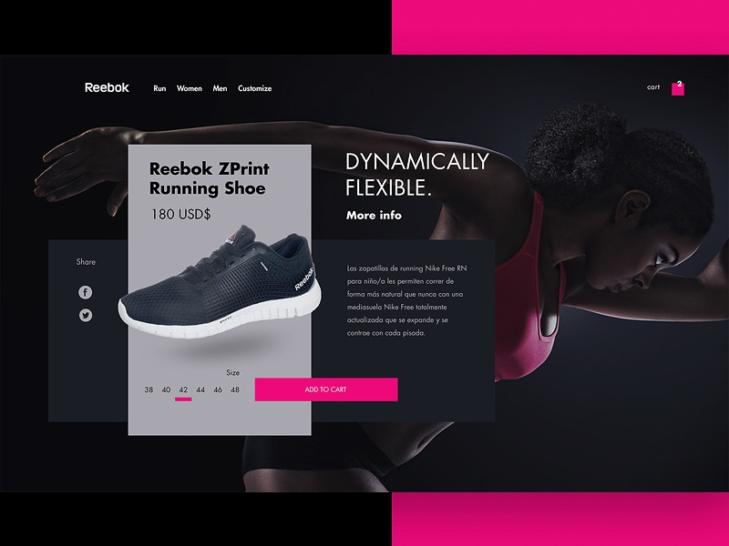 Reebok website web visual ux ui shop product adidas item illustration design cart card