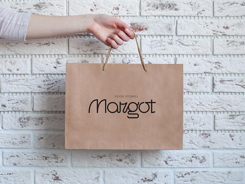 Margot Food Stories brand design graphic geometric clean minimal identity typo logo logotype web ux