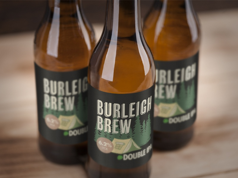 Burleigh Brew Double IPA Label beer label beer branding county burleigh beer craft beer vector north dakota brewery branding outdoors wilderness design illustration