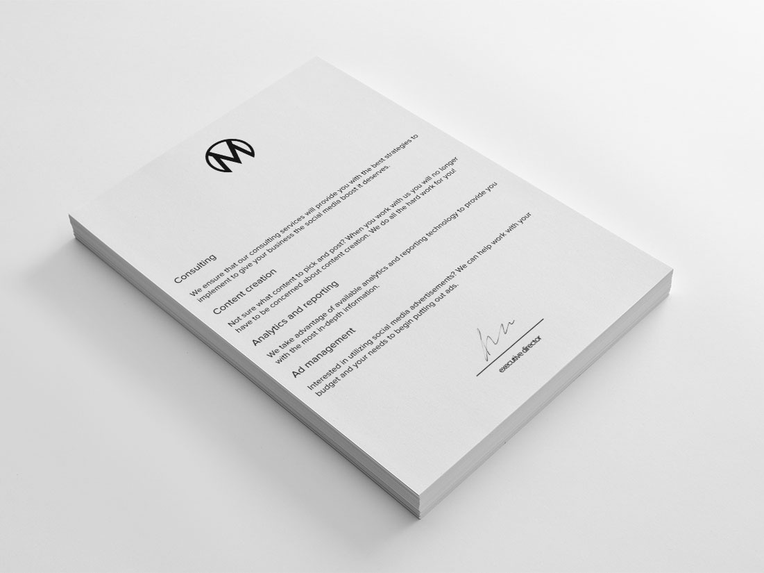 A Minimalist Letterhead for Mellbe stationery black and white minimal identity creative social media branding design social media marketing typography simple design design minimal design stationery design creative design logo logo design minimalist branding graphic design minimalist design