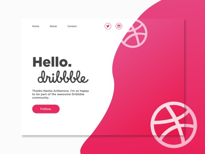 Hello Dribbble! hello dribbble hero landing page first shot