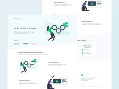 Homepage concept for a no-code agency flatdesign web design design homepage design