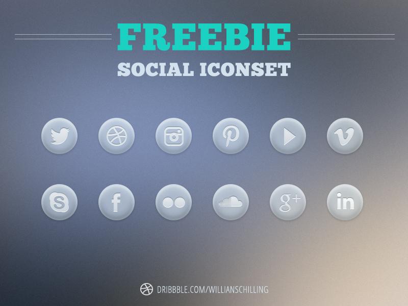 Freebie Social Icon Set icons social twitter instagram pinterest youtube vimeo skype facebook flickr soundcloud google plus linkedin