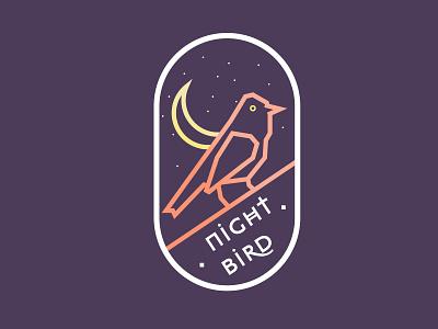 Night Bird badge moon night animal logo logo design badge design graphic design flat design vector art bird