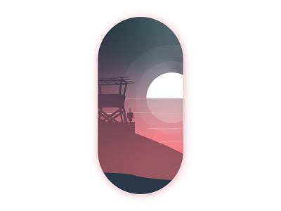 Watchtower watchtower sticker art badge art flat design vector art nature water ocean sun sunset beach