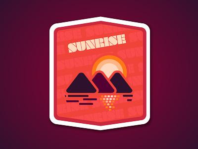 Sunrise graphic design nature outdoors sticker design badge design flat  design vector art sunrise