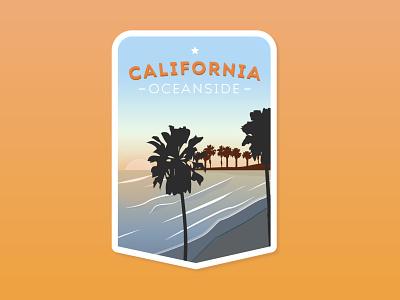O'Side vector art flat design graphic  design states outdoors sticker art badge art california oceanside