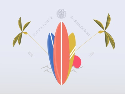 Surf flat design california ocean waves outdoors city graphic design vector graphic surf san diego