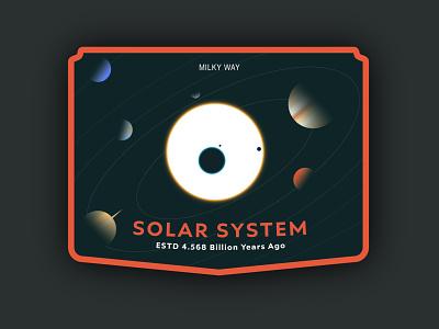 Solar System moon logo design graphic design sticker design logo badge logo badge art vector art flat design solar system milky way planets space