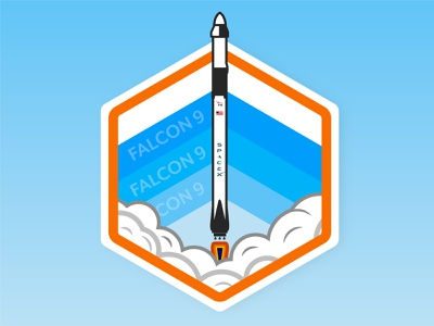 Falcon 9 sticker design badge art badge logo science spaceship rocket space shuttle graphic design vector design flat design nasa space x falcon 9