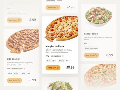 Pizza | Product cards product tomato meat typography clean chicken salad uidesign uiux cards food pizza