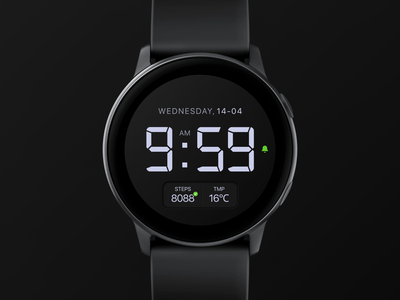 Watch face | Watch Active minimal creative uidesign dark typography clean concept watchface dial uiux watch active