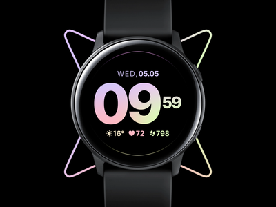 Watch Face   Active fitness clean dark active dial typogaphy sport concept ui ux os watch watch face