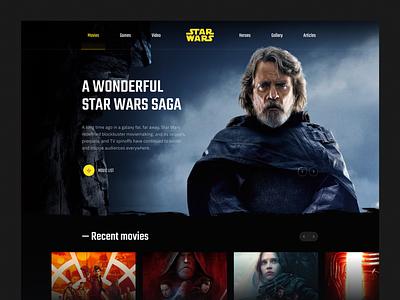 Star Wars   Concept website website uidesign ui ux concept typogaphy star wars luke dark header interaction solo force