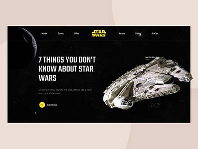 Star Wars   Header clean dark interaction website card slider star wars header ui ux inspiration concept typography