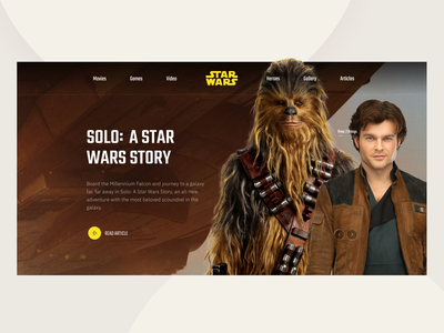 Star Wars   Solo inspiration hero typogaphy header chewbacca star wars solo uiux interaction colors clean card