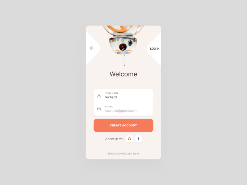 Sign Up | Daily #001 clean  creative colors challenge interaction bb-8 star wars form sign up mobile ux ui daily
