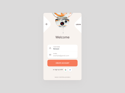 Sign Up   Daily #001 clean  creative colors challenge interaction bb-8 star wars form sign up mobile ux ui daily