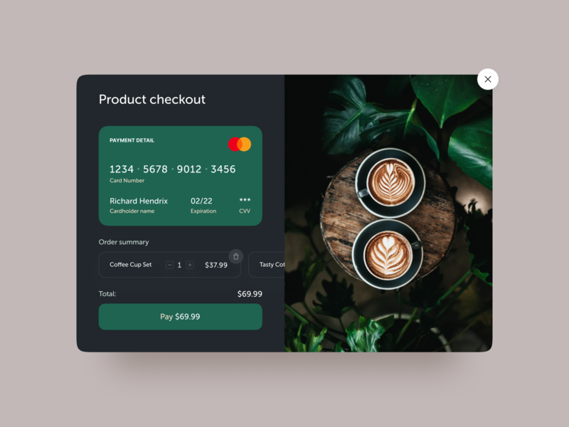 Product Checkout | DailyUI daily modal credit card form colors clean product checkout ui ux coffee typography interaction dailyui
