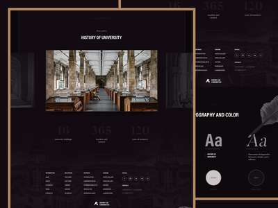 University | Design website clean card history university dark header ui ux concept colors typography