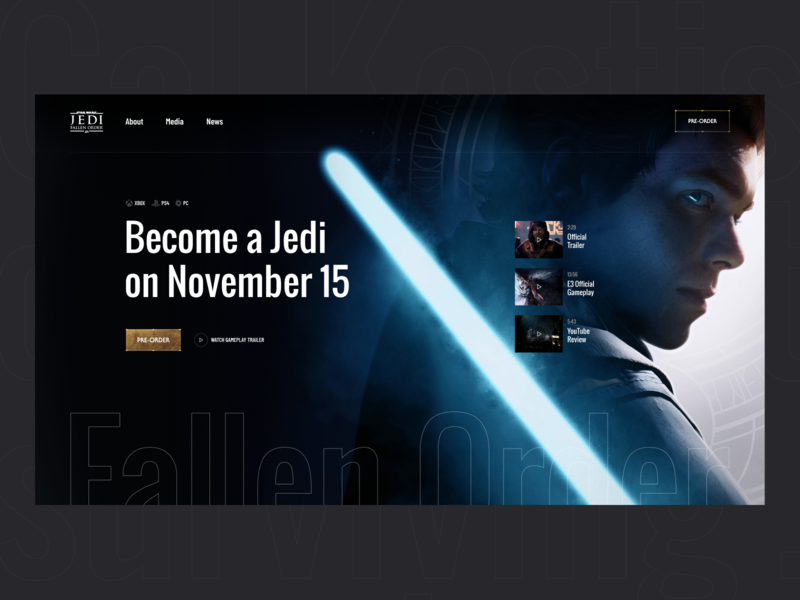 Star Wars Fallen Order product responsive web design website promo page landing page pre-order jedi dark typography header colors ui ux star wars concept