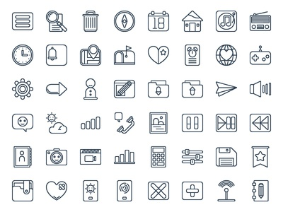 Basic Ui and Mobile App Icon Set (Line)