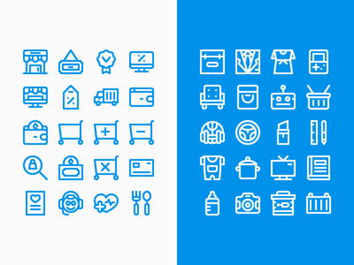 Lineal Blue And White Ecommerce Icon Set