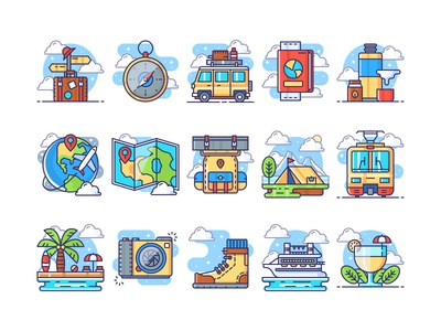 Holiday Travel Icons Collection